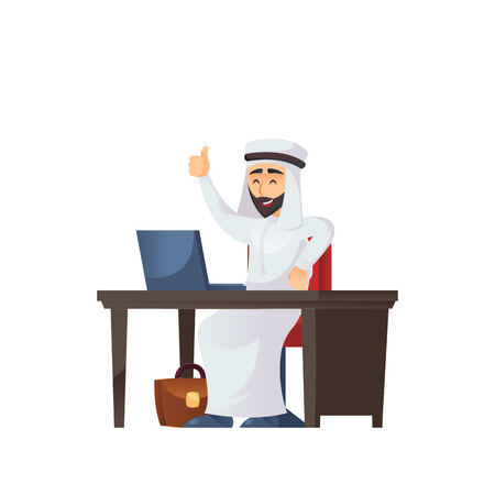 Arabian businessman gesturing thumb up while fronting with the laptop on the table