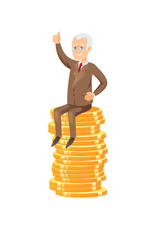 Old man sitting on coins image illustration