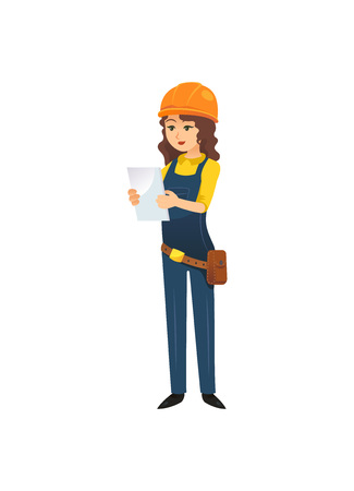 Woman in hardhat of constructor image illustration