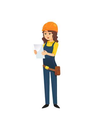 Kobieta w kasku z ilustracji konstruktora Ilustracje wektorowe