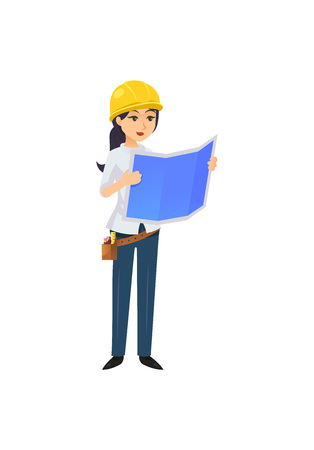 Woman with blueprint working as constructor illustration Vectores