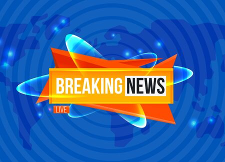 Breaking news sting on blue background Illustration