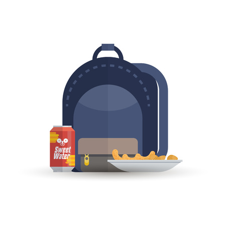 Backpack with soda and chips