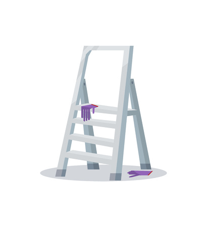 Ladder with purple gloves Ilustrace