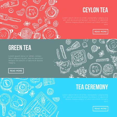 Different kinds of tea and sweets illustration