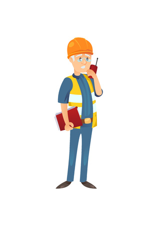 Worker of site with transmitter Illustration
