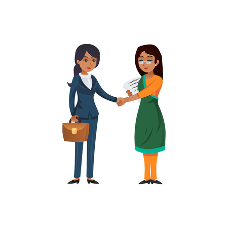 Multicultural female entrepreneurs shaking hands