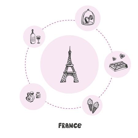 Famous France Symbols Doodle Colorful Concept
