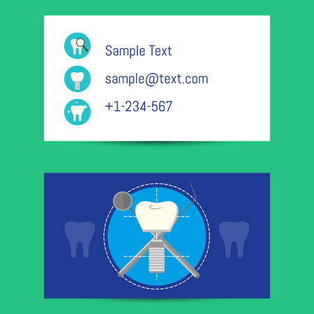 Professional business card template for dentists with tooth implant and dentist equipment, illustration. Фото со стока