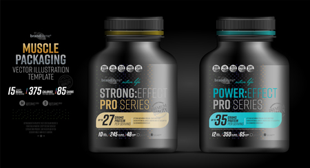 Protein powder tub design template. Sports nutrition and bodybuilding supplement. Whey protein packaging. Stock Photo