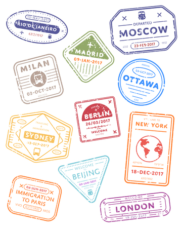 International travel  stamps isolated on white background. Arrivals sign rubber stamps. New York, Beijing, London, Sydney and other cities sign.
