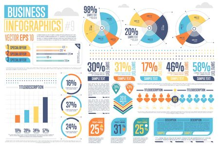Business infographics set with different diagram illustration. Abstract data visualization, marketing charts and graphs. Business statistics, planning and analytics, forecasting growth rates
