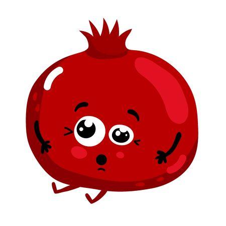 Funny fruit pomegranate isolated cartoon character