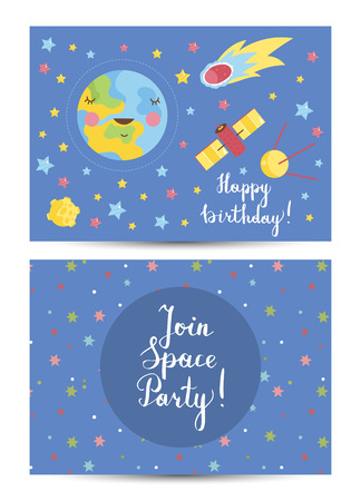 Happy Birthday Vector Cartoon Greeting Card Vettoriali
