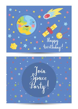 Happy Birthday Vector Cartoon Greeting Card 向量圖像