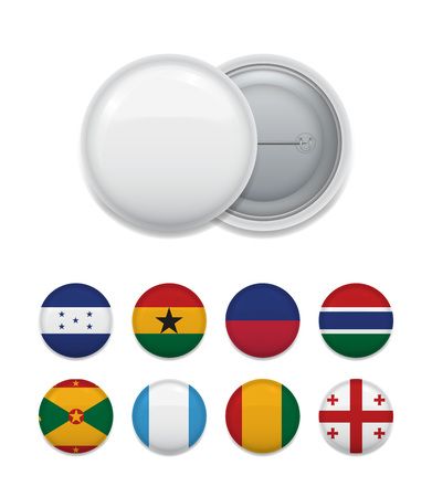 Composition of round white blank badge and layout of colorful worldwide flags. Vector illustration. Illustration