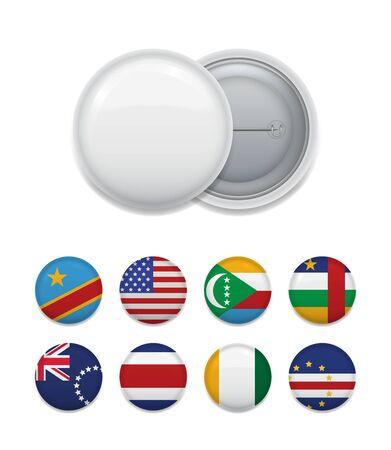 Banderas de países del mundo y distintivo blanco Ilustración de vector