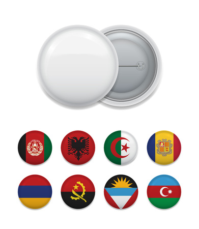 Round white empty badge with set of flags in template on white. Vector illustration. Иллюстрация