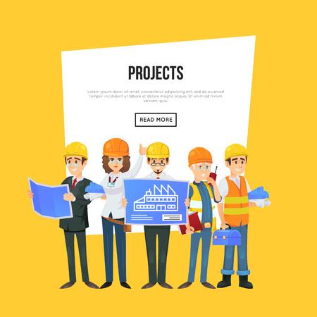 Trabajadores de la construccin ingeniero y gerente de proyectos architecture company banner with worker team in safety helmets engineer with blueprint architect malvernweather Image collections