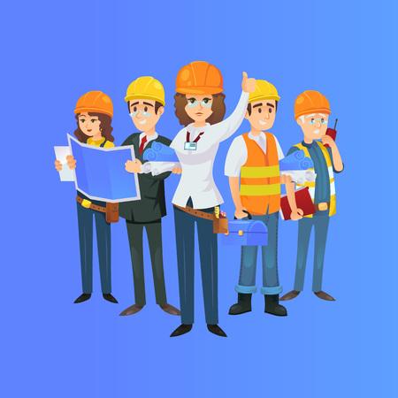 équipe de travailleurs de la construction dans les casques de sécurité. Ingénieur, architecte avec plan, constructeur, contremaître avec radio portable isolé sur fond bleu. Illustration vectorielle de bâtiment industriel.