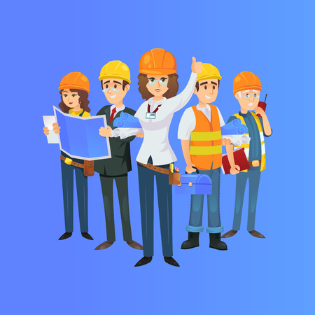 construction worker team in safety helmets. Engineer, architect with blueprint, builder, foreman with portable radio isolated on blue background. Industrial building company vector illustration.