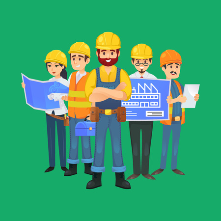 construction worker team in uniform and safety helmets. Engineer, architect, builder, electrician and foreman characters isolated on green background. Industrial building company vector illustration. 일러스트