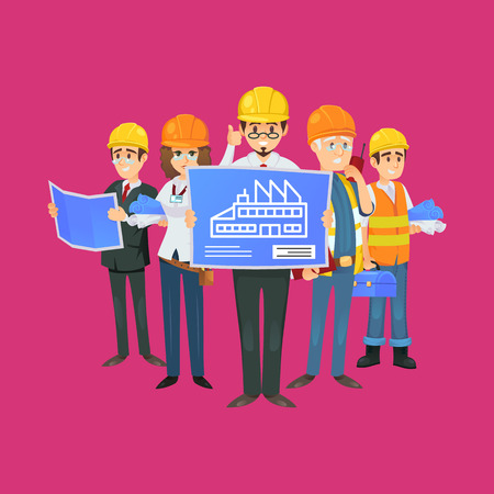 Construction worker team in safety helmets engineer architect professional construction worker team in uniform and safety helmets engineer architect with blueprint malvernweather Choice Image