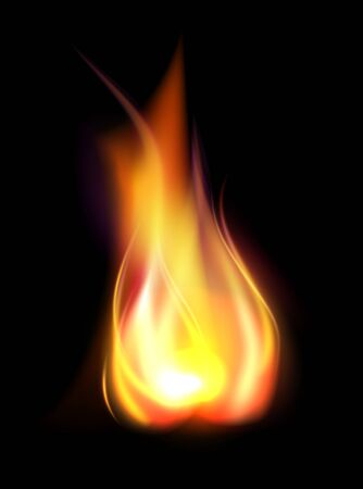 Realistic burning flame translucent element Stock Photo