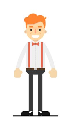 Happy redheaded man character in flat design Banque d'images