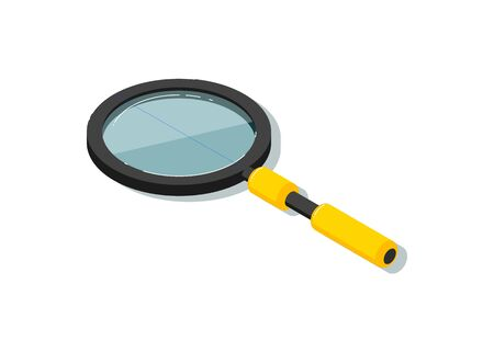 Isometric magnifying glass isolated