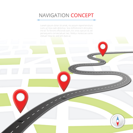 Navigation concept with pin pointer Stock Photo