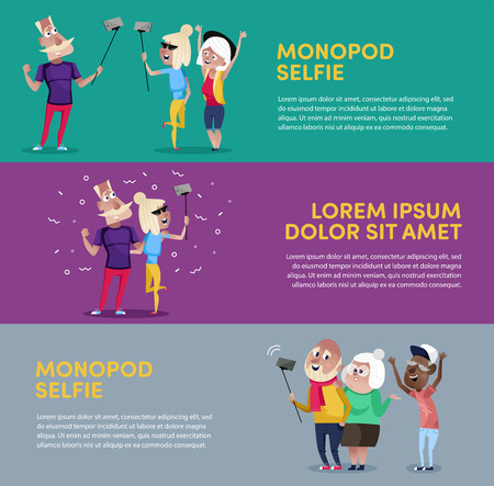Creative poster for people using monopod  イラスト・ベクター素材