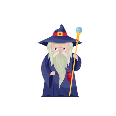 Old wizard with magical staff Illustration