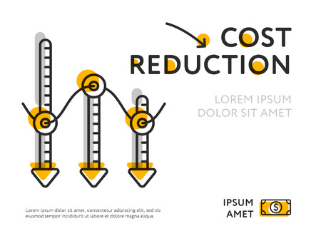 Flat design of infographic graph with lowering of prices and minimalist elements.