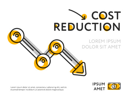 白色に分離されたコスト削減を示すミニマリストグラフのフラットデザイン。