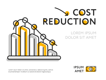 Simple design of graph representing cost reduction with chart template.