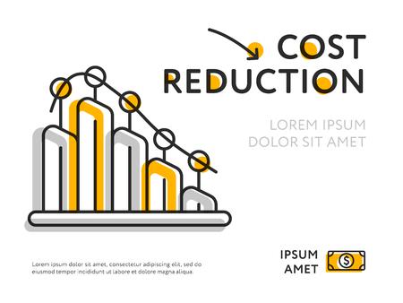 Einfaches Design des Diagramms Kostensenkung mit Diagrammschablone darstellend.