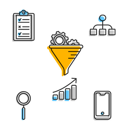Icons for business solution in set Illustration