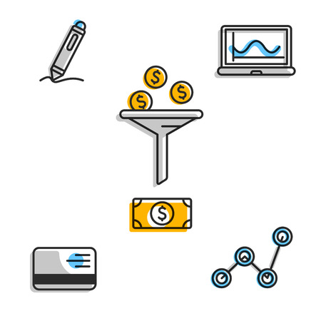 Icons for business markegplace with money exchange