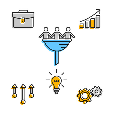Business team icons in set on white Illustration