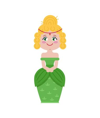Beautiful princess in green dress. Vector illustration.