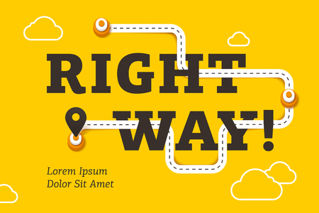 Right way business concept with winding road and pin pointer on yellow background. Minimalistic business infographics, process direction, timeline diagram, digital marketing vector illustration.