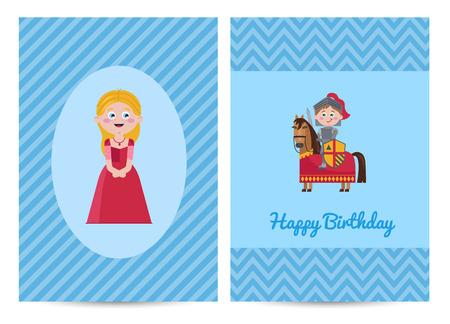Happy birthday kids postcard with princess Illustration