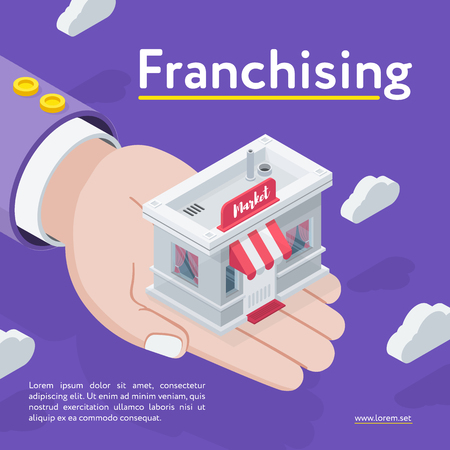 Hand holding Franchising store