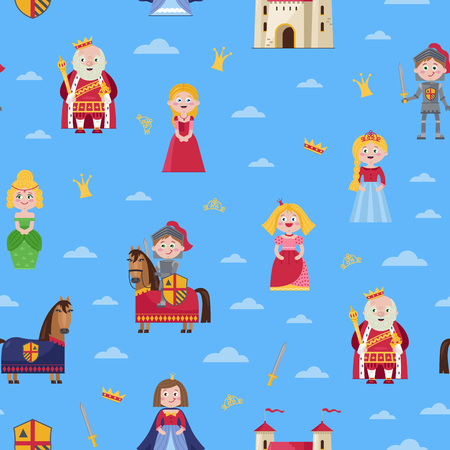Fairytale seamless pattern in cartoon style