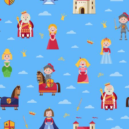 Fairytale seamless pattern in cartoon style