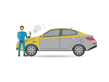 Auto mechanics in uniform car painting icon