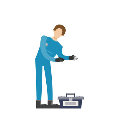 Auto mechanic in uniform with tools icon