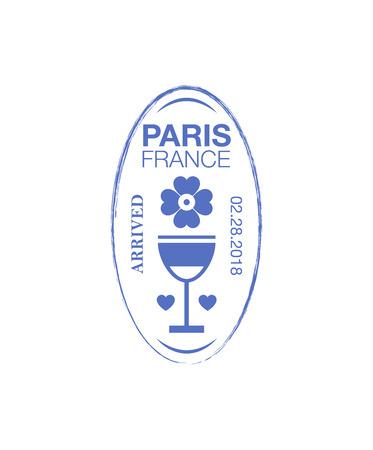 Paris arrival ink stamp on passport.