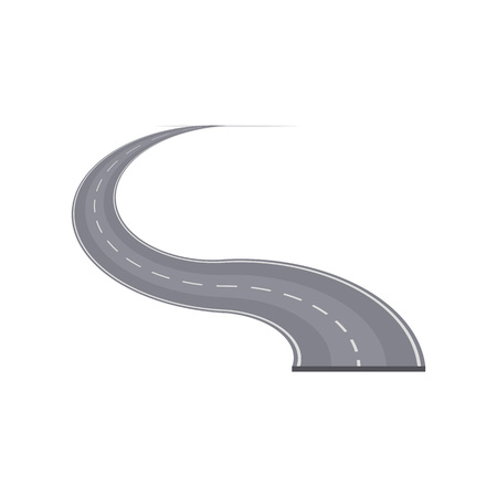 Winding highway with markings element